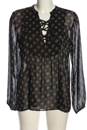Hollister Langarm-Bluse schwarz abstraktes Muster Business-Look