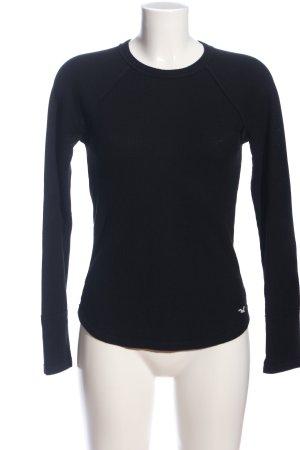 Hollister Langarm-Bluse schwarz-weiß Motivdruck Business-Look