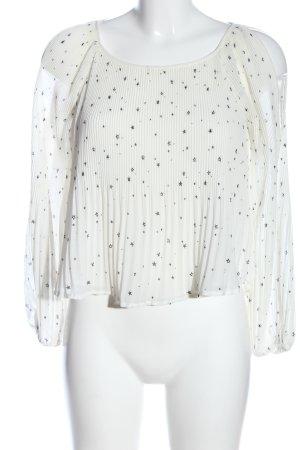 Hollister Langarm-Bluse weiß-schwarz abstraktes Muster Casual-Look