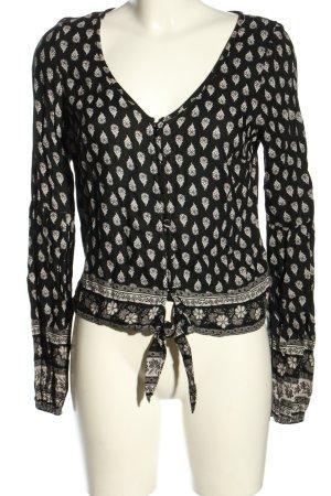 Hollister Langarm-Bluse schwarz-weiß Allover-Druck Casual-Look