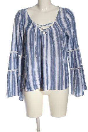 Hollister Blusa de manga larga azul-blanco look casual