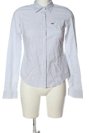 Hollister Langarmhemd weiß-blau Streifenmuster Elegant