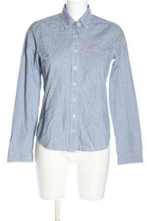 Hollister Langarmhemd blau-weiß Allover-Druck Casual-Look