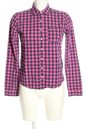 Hollister Langarmhemd pink-schwarz Karomuster Business-Look