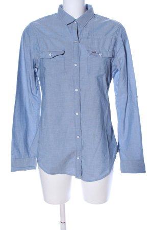 Hollister Langarmhemd blau Webmuster Business-Look