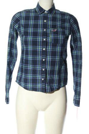 Hollister Langarmhemd blau-grün Allover-Druck Casual-Look