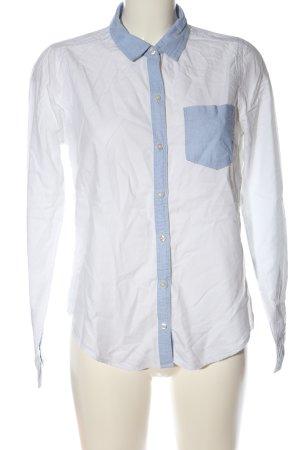 Hollister Langarmhemd weiß-blau Business-Look