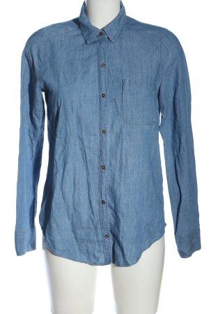 Hollister Langarmhemd blau Motivdruck Casual-Look