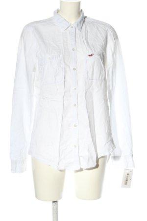Hollister Langarmhemd weiß Schriftzug gestickt Business-Look