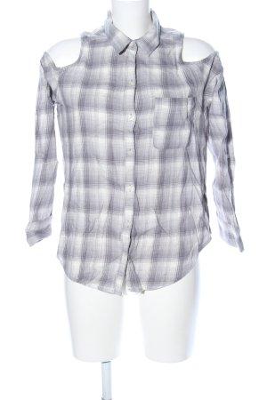Hollister Shirt met lange mouwen wit-lichtgrijs geruite print zakelijke stijl