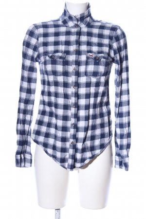Hollister Langarmhemd blau-weiß Karomuster Business-Look
