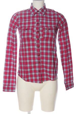 Hollister Langarmhemd pink-weiß Karomuster Casual-Look