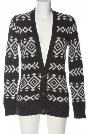 Hollister Longpullover schwarz-weiß grafisches Muster Casual-Look