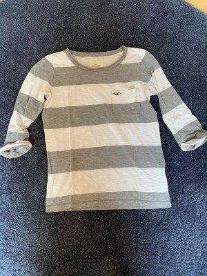 HOLLISTER / Longsleeve 3/4 in weiß mit grauen Streifen