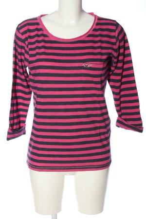 Hollister Longsleeve pink-schwarz Streifenmuster Casual-Look