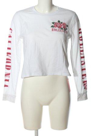 Hollister Top à manches longues blanc-rouge imprimé avec thème