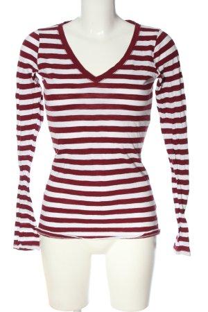 Hollister Longsleeve weiß-rot Streifenmuster Casual-Look