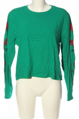 Hollister Longsleeve grün Motivdruck Casual-Look