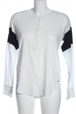 Hollister Longsleeve weiß-schwarz Casual-Look