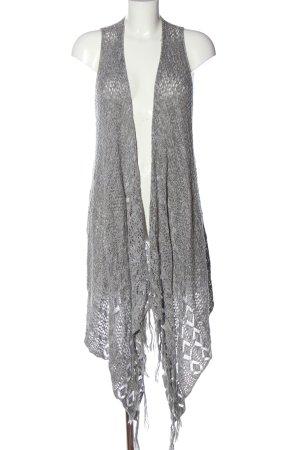 Hollister Gilet long tricoté gris clair moucheté style décontracté