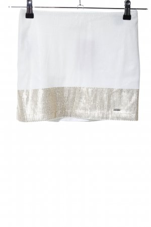 Hollister Minirock weiß-goldfarben Glanz-Optik