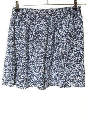 Hollister Minirock blau-weiß Blumenmuster Casual-Look