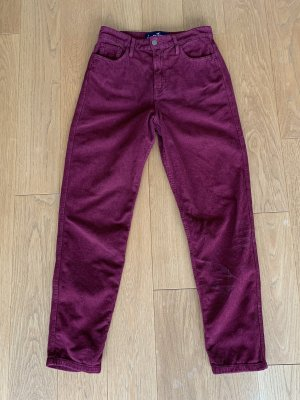 Hollister Pantalón de pana burdeos-rojo