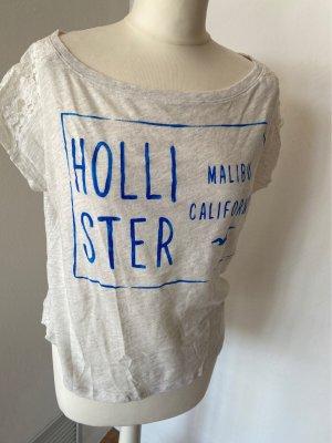 Hollister Siateczkowa koszulka jasnoszary-niebieski neonowy