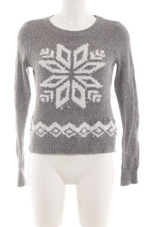 Hollister Pull norvégien gris clair-blanc motif graphique style décontracté