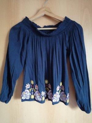 Hollister Off-Shoulder Bluse mit Blumenstickerei S