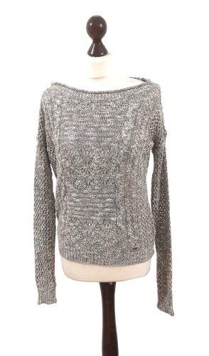 Hollister Oversized melierter grau weißer Pullover Löcher Lace Strick