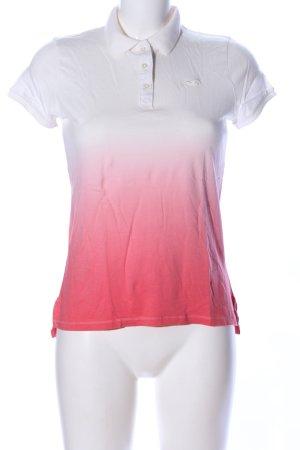 Hollister Camiseta tipo polo blanco-rojo degradado de color look casual