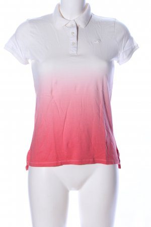 Hollister Polo-Shirt weiß-rot Farbverlauf Casual-Look