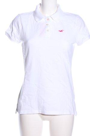 Hollister Polo-Shirt weiß Schriftzug gestickt Casual-Look