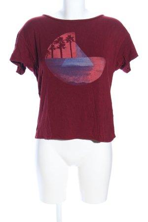 Hollister Print-Shirt rot-blau Motivdruck Casual-Look