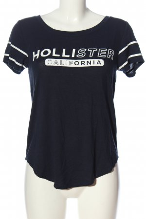 Hollister Print-Shirt blau-weiß Schriftzug gedruckt Casual-Look