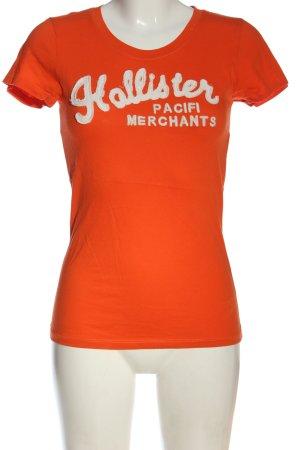 Hollister Print-Shirt hellorange-weiß Schriftzug gedruckt Casual-Look