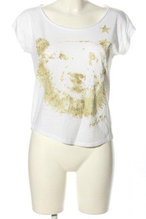 Hollister Print-Shirt weiß-goldfarben Motivdruck Casual-Look