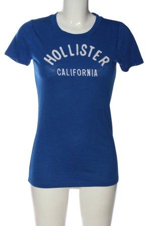 Hollister Print-Shirt blau-weiß Schriftzug gestickt Casual-Look