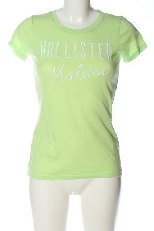 Hollister Print-Shirt grün-weiß Schriftzug gestickt Casual-Look