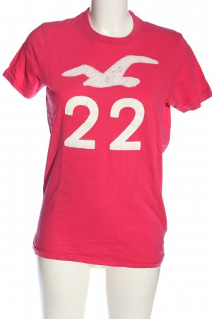 Hollister Print-Shirt pink Schriftzug gedruckt Casual-Look