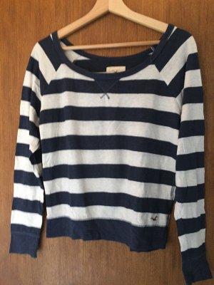 Hollister Pullover, blau/weiß, gestreift