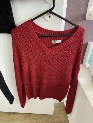 Hollister Pull tricoté rouge foncé