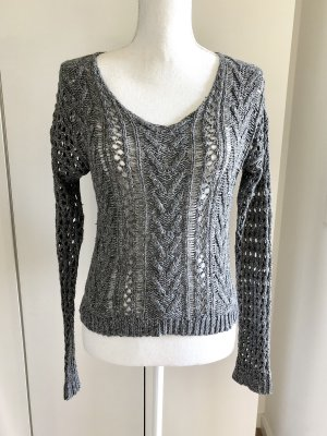 HOLLISTER Pullover XS/S Grau Strick V-Ausschnitt