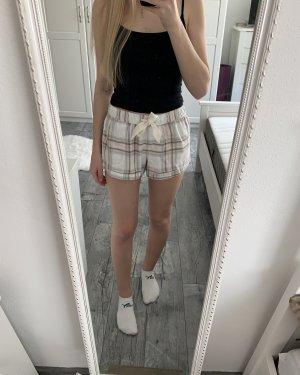 Hollister Pyjama Shorts Schlaf Hose kurz Karo Muster rosa beige grau S 36
