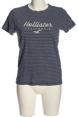 Hollister Koszulka w paski czarny-biały Wyhaftowany logo W stylu casual