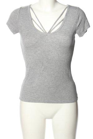 Hollister Prążkowana koszulka jasnoszary Melanżowy W stylu casual