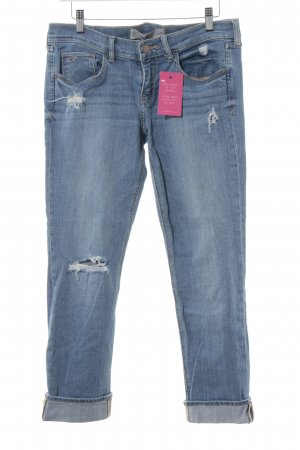 Hollister Röhrenjeans kornblumenblau Used-Optik