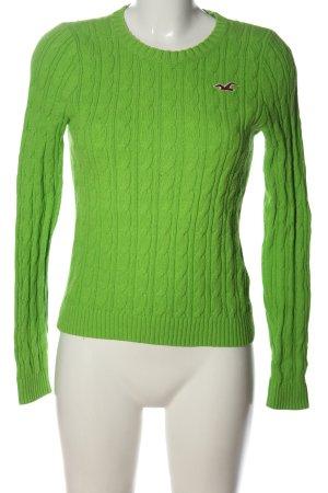 Hollister Rundhalspullover grün Zopfmuster Casual-Look