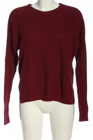 Hollister Rundhalspullover rot Zopfmuster Casual-Look